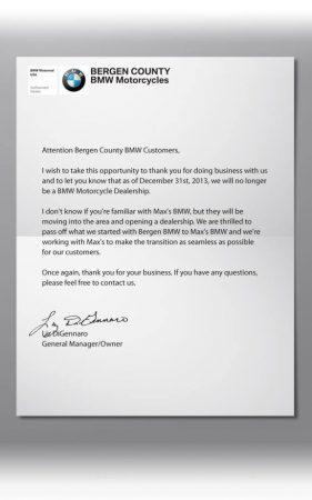 Bergen County BMW letter