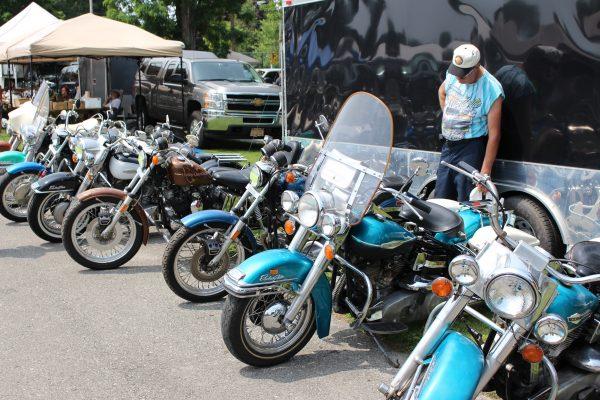 Line of Vintage Harleys