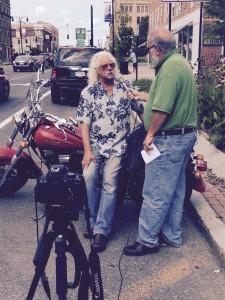 Arlo being interviewed