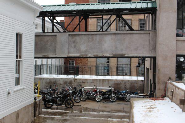 Walkway with bikes below