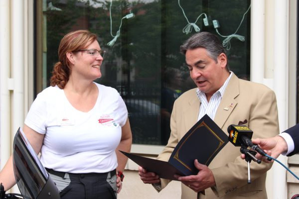Alisa Clickenger and Springfield Mayor Domenic Sarno